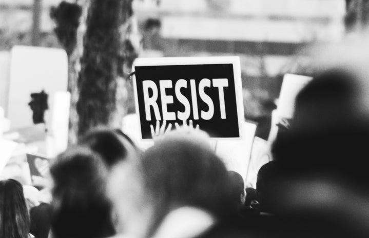 """""""resist"""" protest sign"""
