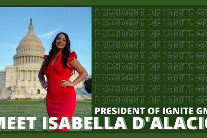 """photo of a woman on a green background that says \""""president of Ignite GMU\"""""""
