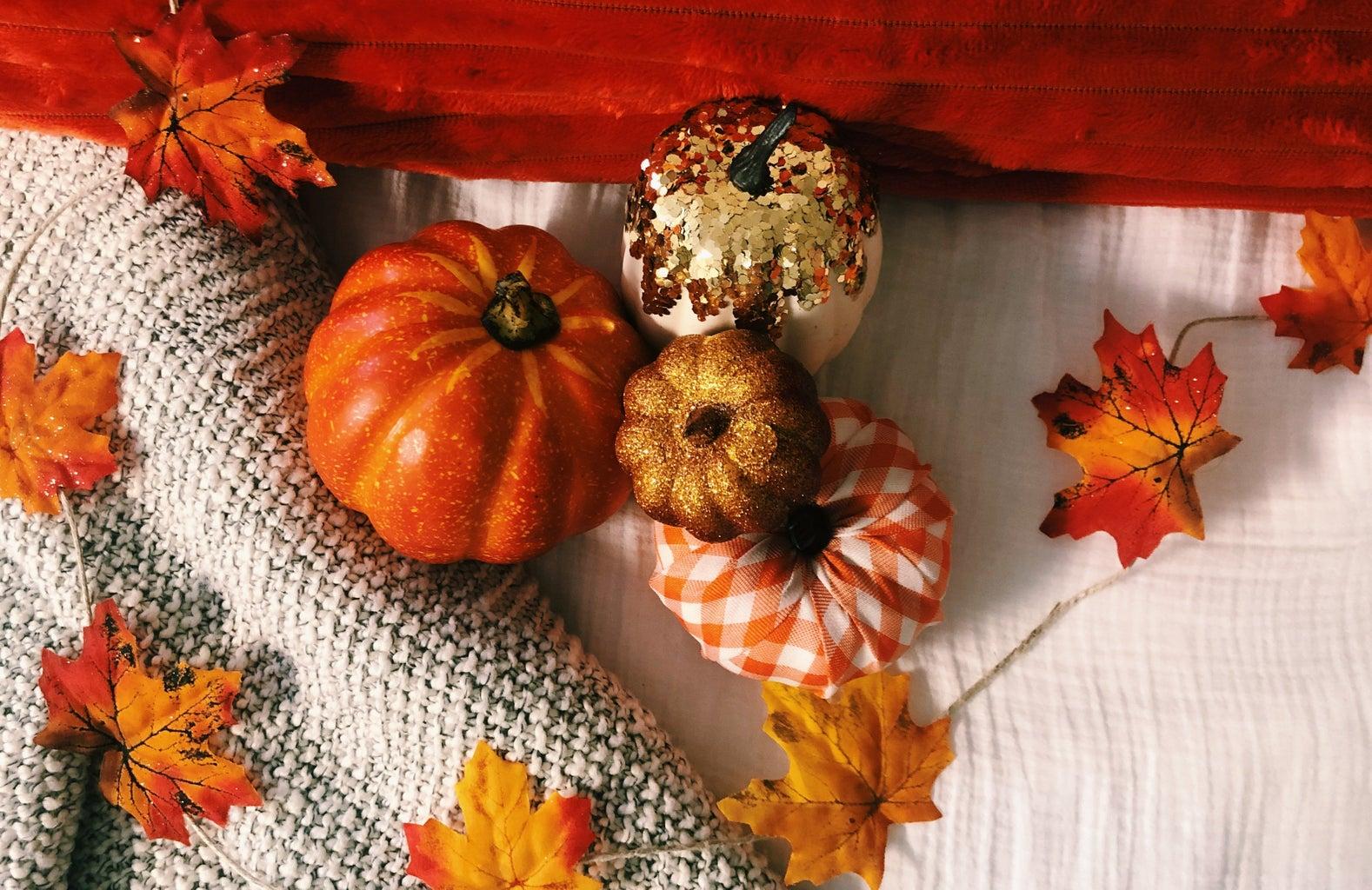 pumpkins on blankets