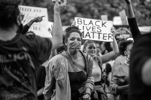 greyscale image of a BLM protest