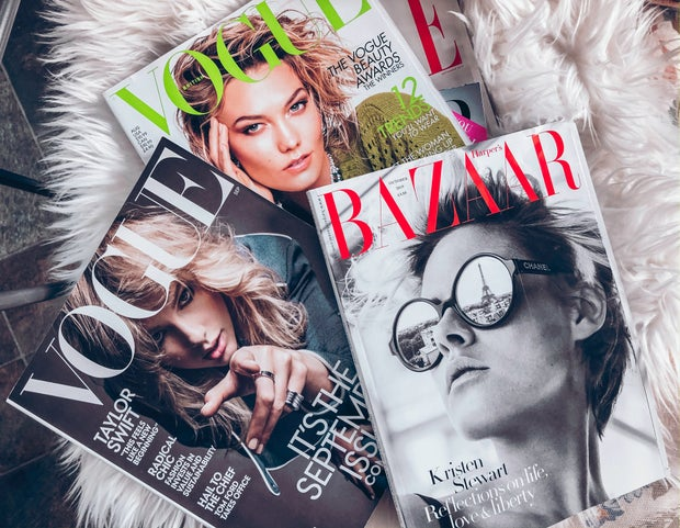 Vogue and Bazaar magazine covers