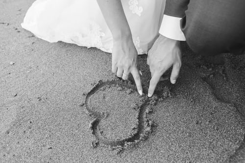 heart in the sand for a wedding