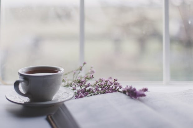 Tea with book