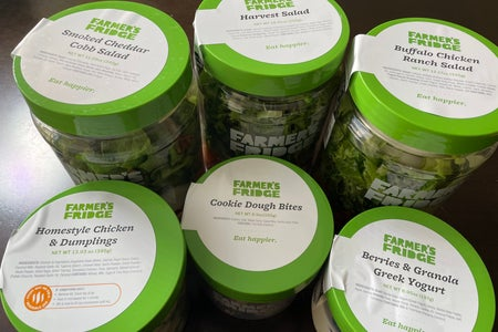 Six Farmer's Fridge Jars with labels on top