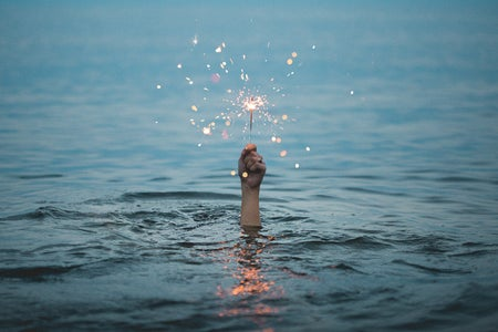 A sparkler in a lake