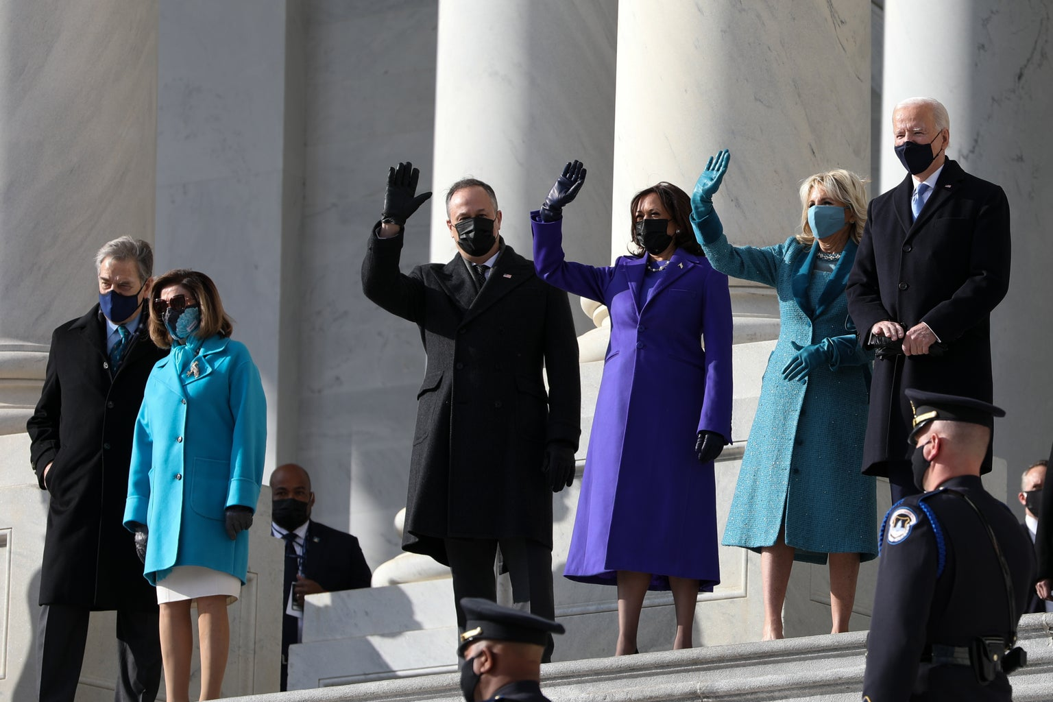 President Joe Biden, Vice President Kamala Harris, and their spouses during the 59th inauguration in D.C.
