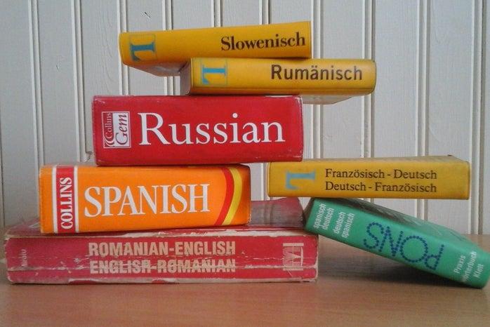 language dictionaries stacked