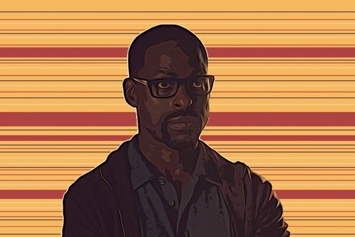 a picture of randall with a yellow background