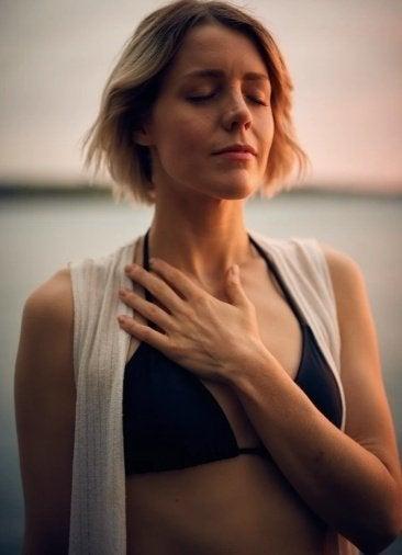 woman breathing/relaxing