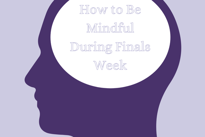 """Purple background, dark purple image of inside of head, \""""How to Be Mindful During Finals Week\"""""""