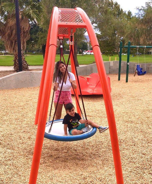 Kid and women at park