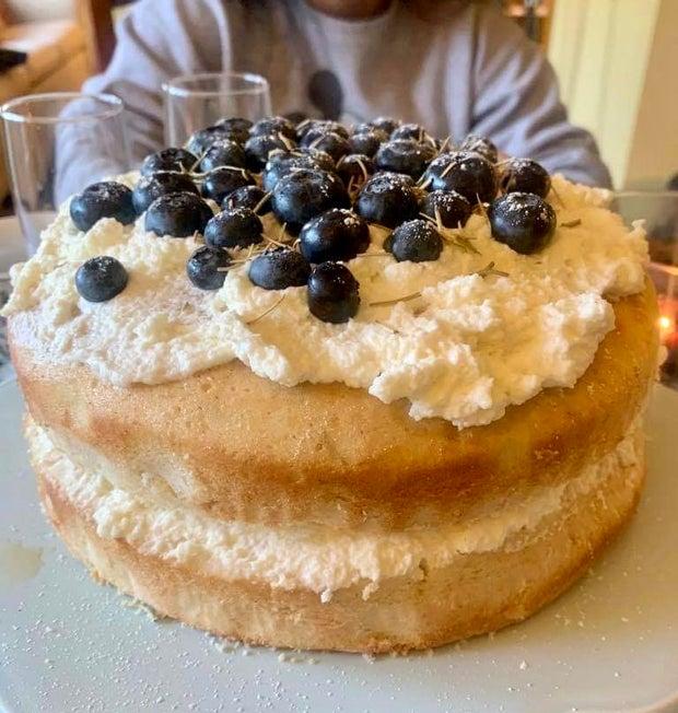 Blueberry rosemary sponge cake