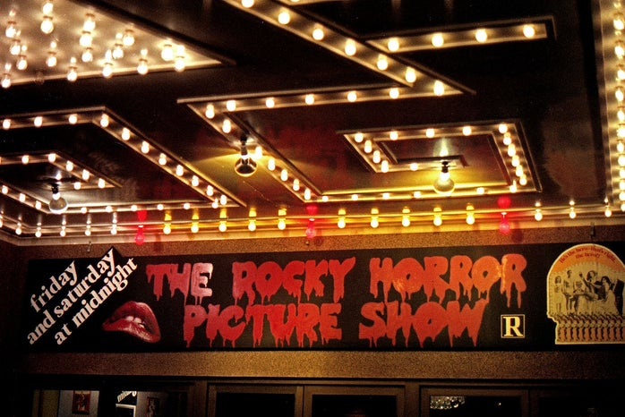 Shot of Rocky Horror Picture Show opening night marquee sign.