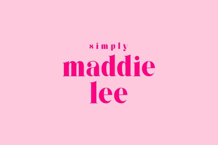 pink graphic that reads Simply Maddie Lee in hot pink letters