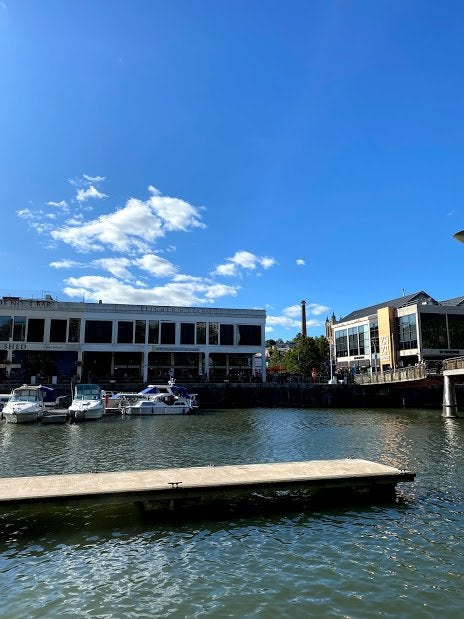 Bristol united kingdom harbourside by day sunny bristol city centre boats river avon