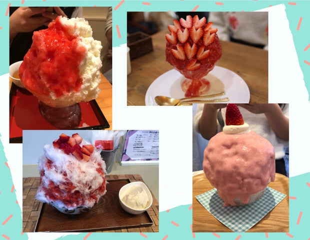 Japanese sweets, strawberry shaved ice
