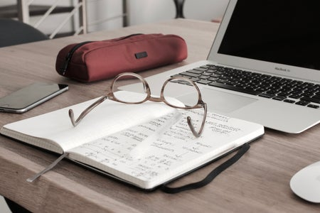 glasses on notebook