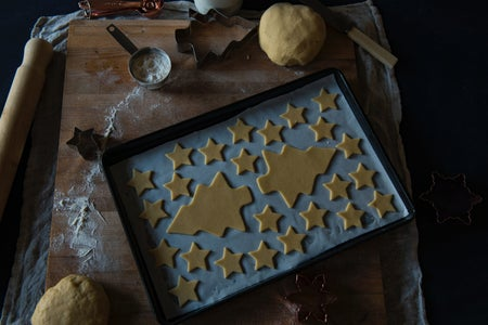 holiday cookies on baking sheet