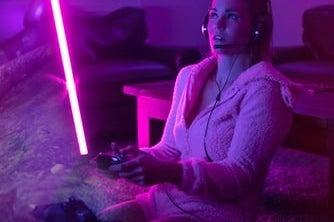 girl gamer with neon lights