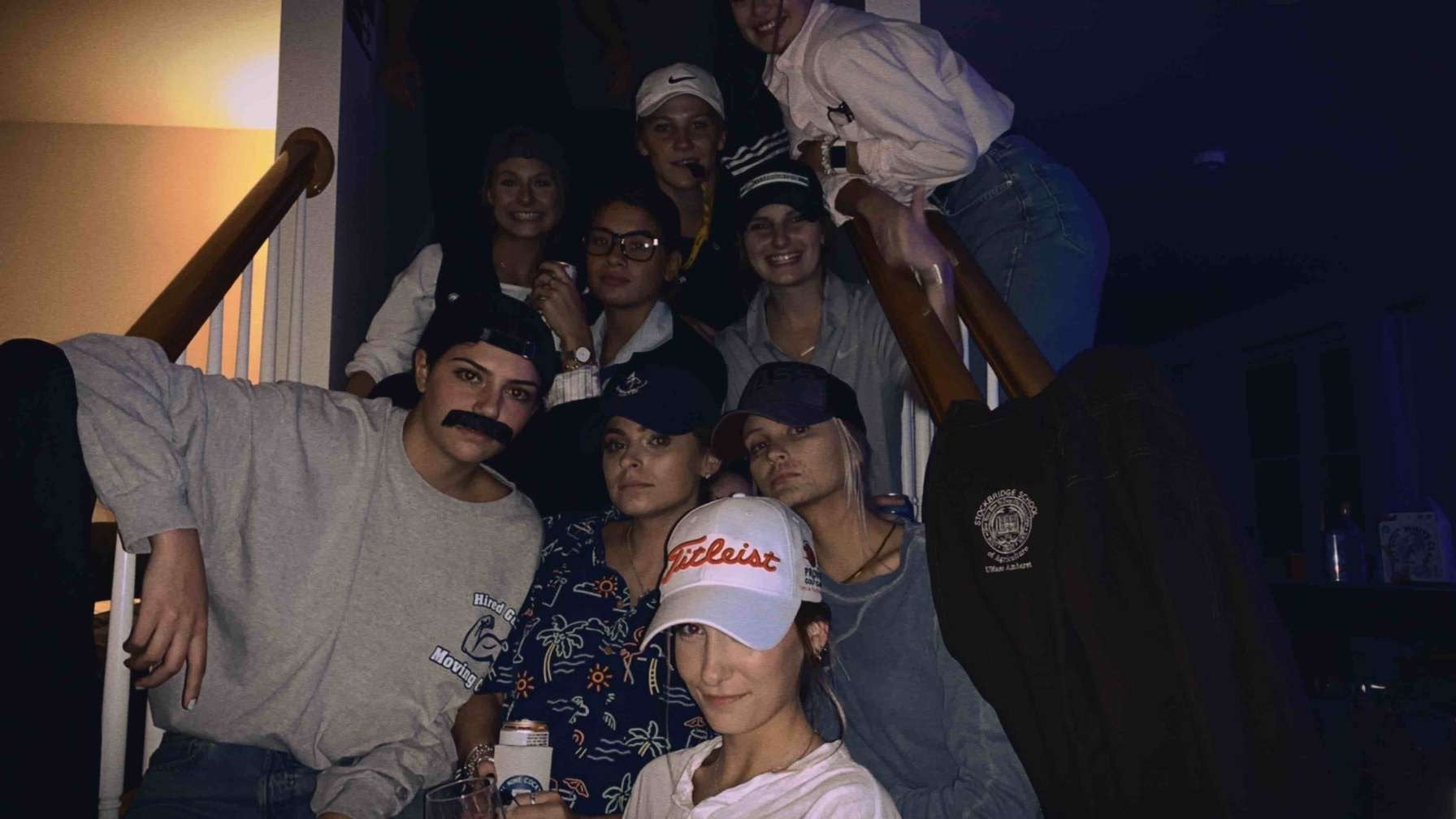 Friends dressed up as their dad's.