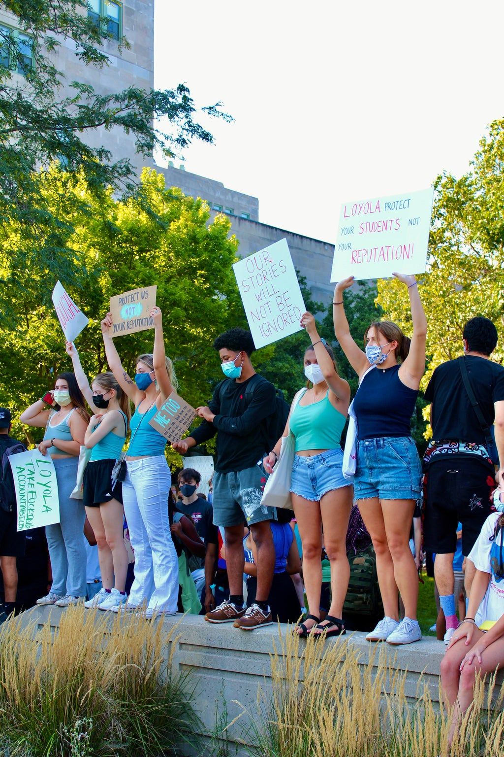 Students protesting sexual assault at Loyola University Chicago