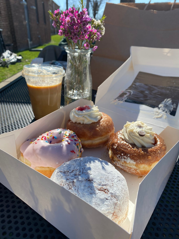 Donuts, coffee, flowers