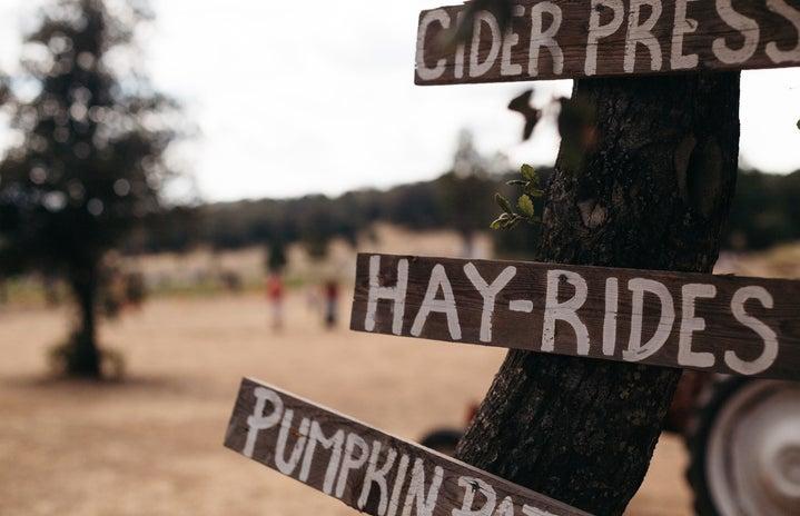 farm signs hay ride cider press pumpkin patch