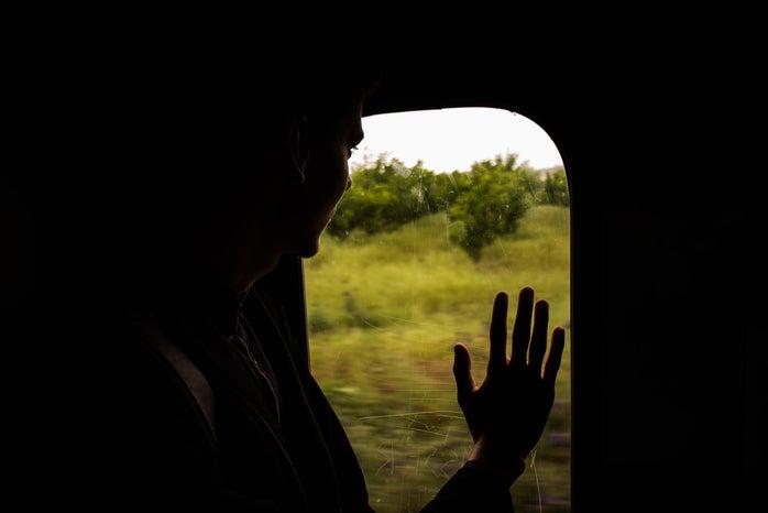 dramatic girl on train