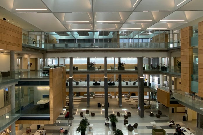 The lobby of the Paul L. Foster Campus for Business and Innovation at Baylor University