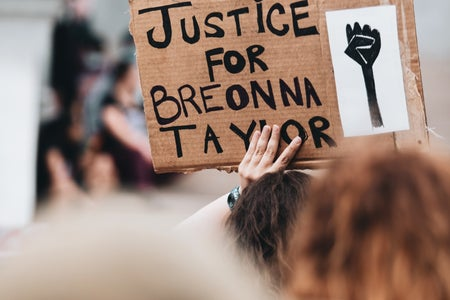 brown justice for Breonna Taylor sign