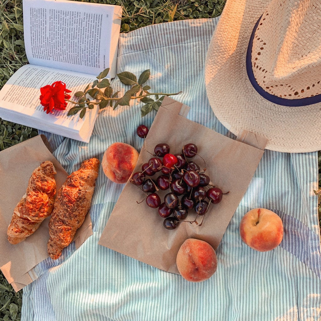 picnic spread with fruit