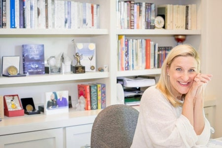 photo of author Ruta Sepetys in her home office