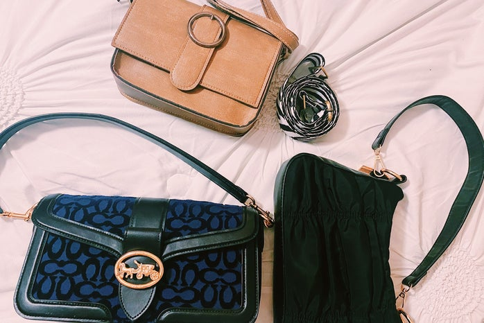 3 purses on a white background