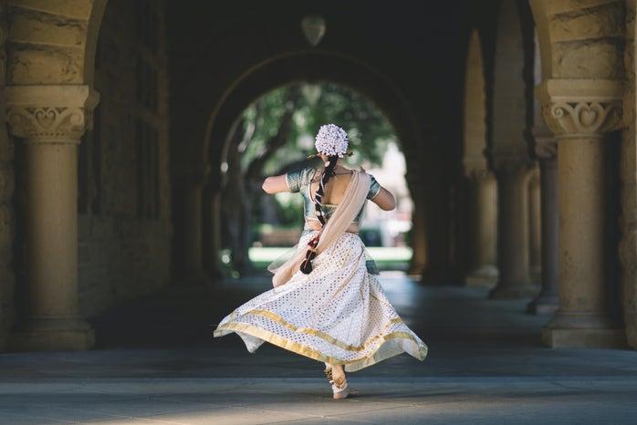 woman running in hallway