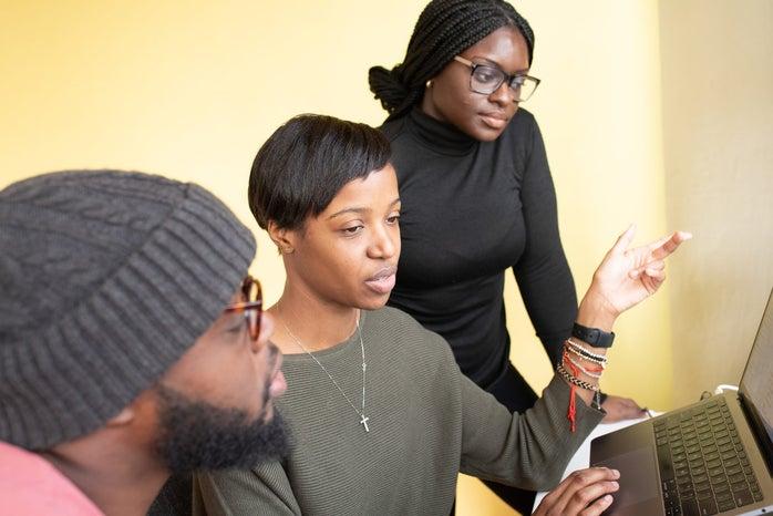 Black woman learning