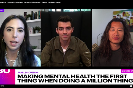 Screenshot of Joe Jonas, Justin Kan and moderator Alexandra Sternlicht at Forbes Under 30: Decade of Disruption Summit