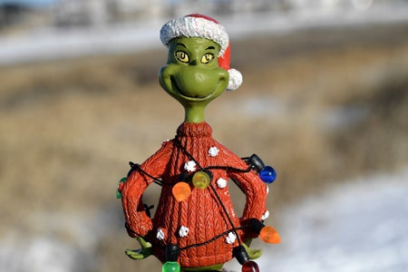 A grinch doll in a field
