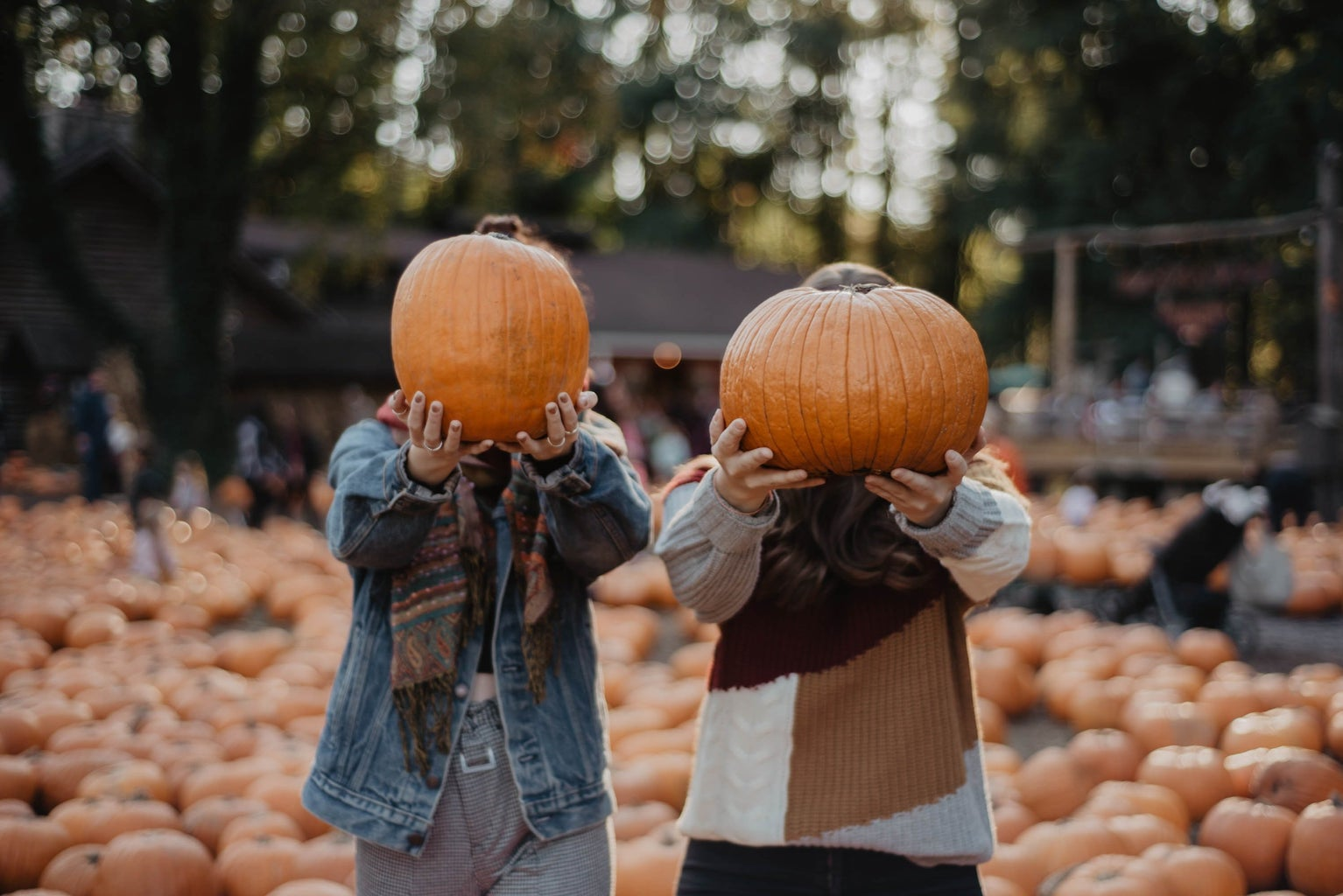 Two women holding pumpkins in front of their faces