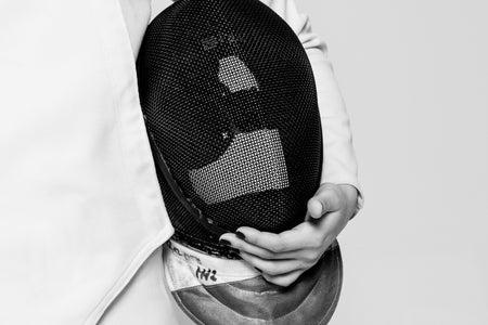 fencer holding mask 2