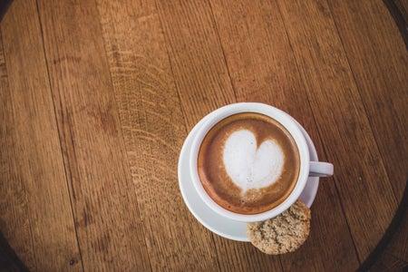 latte art with heart design