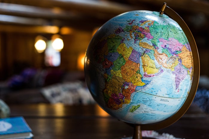globe with a defocused background