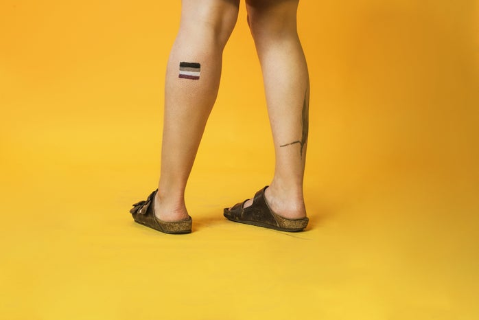 Asexual Pride Flag Painted On Leg Photo