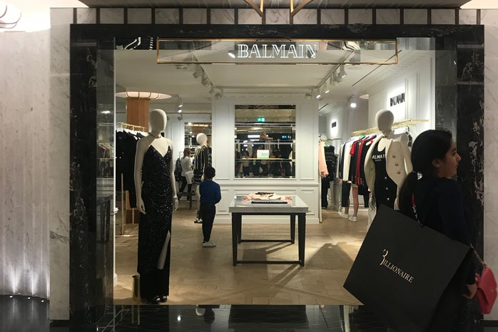 Picture of the Balmain store in Harrods, London.