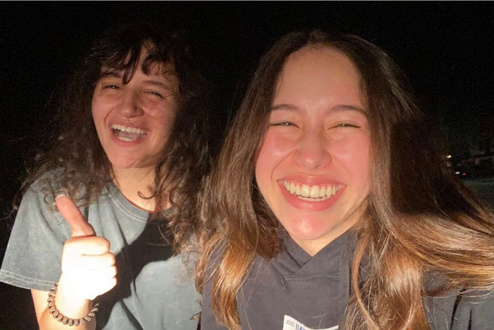 Two girls laughing in a selfie