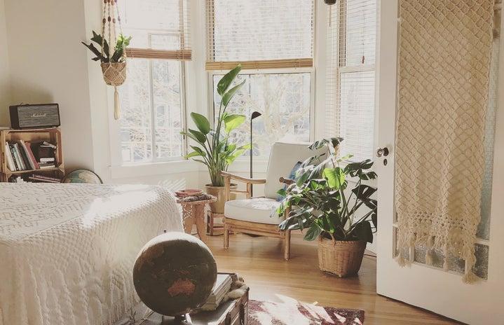 boho bedroom with plants and macrame