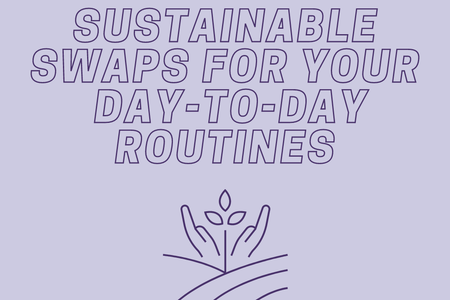 "Purple Background with white text ""Sustainable Swaps for Your Day-to-Day Routines"" and a sustainability logo in dark purple"