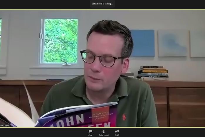 "Screenshot of John Green taken via Zoom during a leg of his book tour for \""The Anthropocene Reviewed\"""
