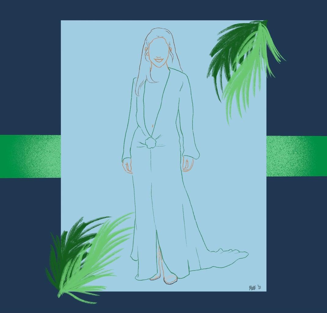 jennifer lopez in versace green dress outline.