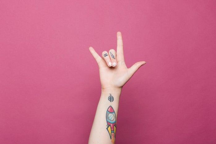 tattooed hand