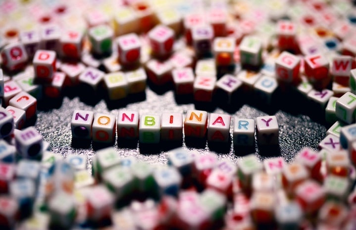 colored letters forming the word non-binary